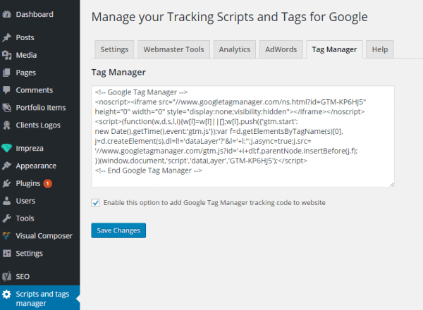 Screenshot add script or tracking code or tag