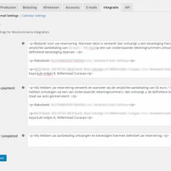 custom settings woocommerce email